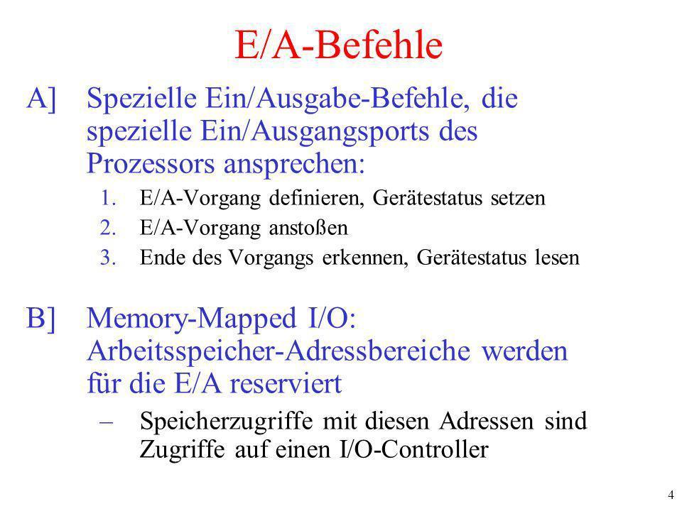 E/A-Befehle A] Spezielle Ein/Ausgabe-Befehle, die spezielle Ein/Ausgangsports des Prozessors ansprechen: